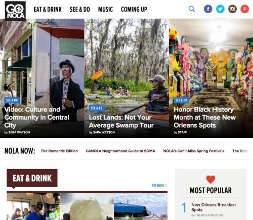 The newly designed GoNOLA.com.