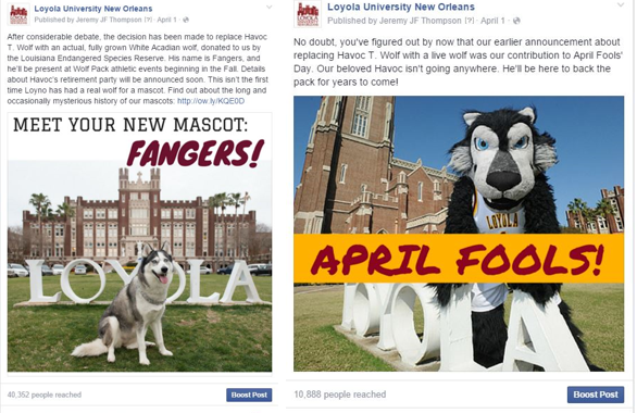 Loyola April Fool Fangers