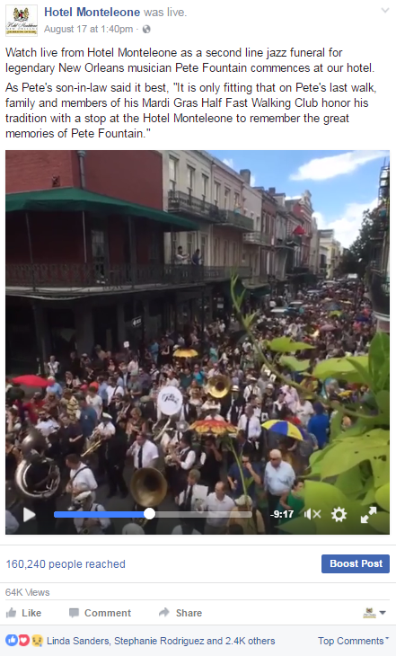 Our second Facebook Live broadcast for Hotel Monteleone took place the following week, featuring the jazz funeral second line for legendary New Orleans musician Pete Fountain, which commenced at the hotel. This broadcast reached 160,240 people and received over 64,000 views, with more than 2,800 likes and comments and 1,332 shares. Both of these live-stream videos were two of our highest performing posts to date for Hotel Monteleone.