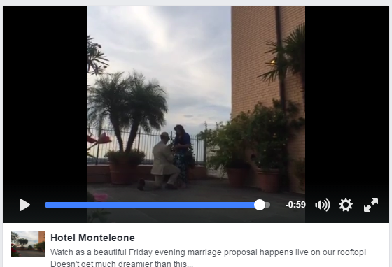 This summer a fan reached out to us via Hotel Monteleone's Instagram account to inquire about arranging a surprise proposal to his girlfriend on the roof of the hotel. He wanted to bring in a photographer to document the experience, and we saw this as a great opportunity to use Facebook Live to capture and share this moment. The video reached 36,400 people and received 2,300 post clicks and 3,300 likes, comments and shares.